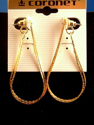 Gold Finish Flat Double Chain Dangle Post Earrings, Anti-allergic Metal
