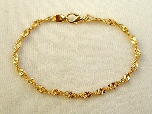 Gold Finish Flat Twisted Snake Chain Bracelet, Anti-allergic Jewelry