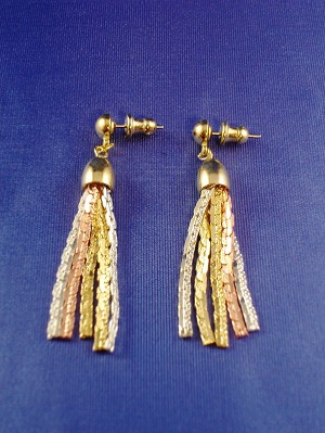 Gold, Silver & Copper Tone Dangling Post Earrings, Flat Snake Chains, Anti-allergic Metal