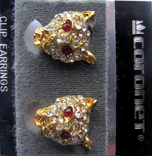 Gold Tone Tiger Clip Earrings w/ Genuine Austrian Crystals