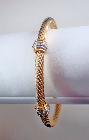 Gold Tone Twisted Rope Cuff Bracelet with CZ Stones, Anti-allergic Jewelry