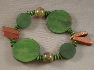 Goldstone Stones Green Contemporary Bracelet, Wooden Beads