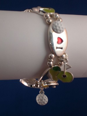 Golf Lover Stretching Charm Bracelet, Sterling Silver Plated, Anti-allergic Jewelry