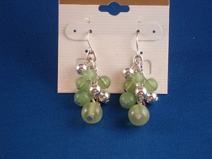 Green Berries Dangling Earrings, Silver Tone Anti-allergic metal