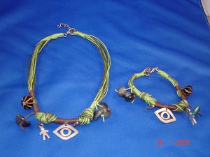 Green Evil Eye, Set of Necklace & Bracelet, Protects from Evil Spirit, European Fashion Jewelry