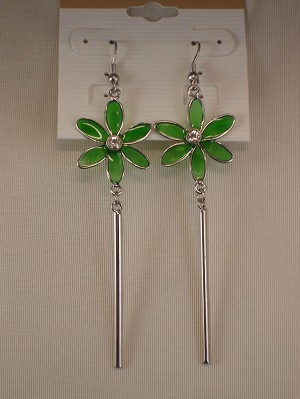 Green Flower Dangling Earrings, CZ Stones, Stained Glass, Silver Tone Anti-allergic Metal