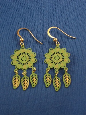 Green Flower & Leaf Charms Filigree Earrings, Gold Tone Anti-allergic Metal