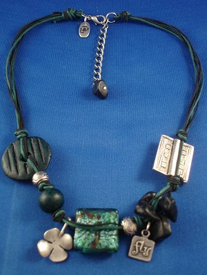 Green Necklace, Stained Glass, Ceramic, Genuine Stones, Metal Charms & Beads, Cotton Cord, European Fashion Jewelry