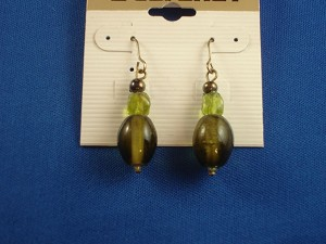 Green Stained Glass Earrings, Beads, Anti-allergic Jewelry