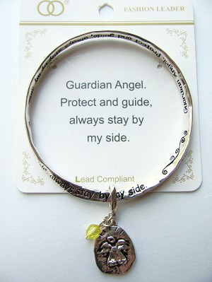 Guardian Angel Charm Inspirational Twisted Bangle Bracelet w/ Engraving Silver Plated