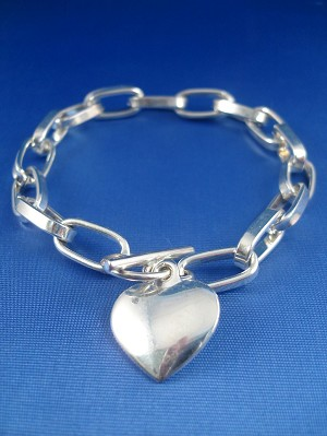 Heart Charm Bracelet, Chain, Sterling Silver Plated, Anti-allergic Jewelry