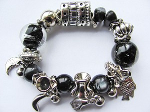 Heart in Hand Fish Moon Crazy Silver Charms Black Stone & Glass Stretching Bracelet