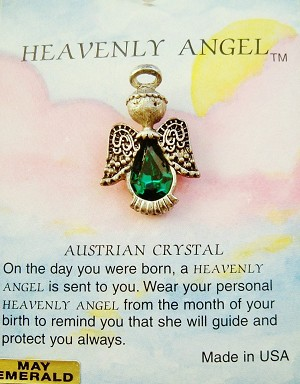 Heavenly Angel Emerald May Birthstone Pin Vintage Style, Genuine Austrian Crystal