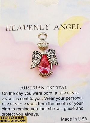 Heavenly Angel Rose Zircon October Birthstone Pin Vintage Style, Genuine Austrian Crystal