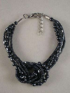 Hematite Beads Contemporary Knot Bracelet