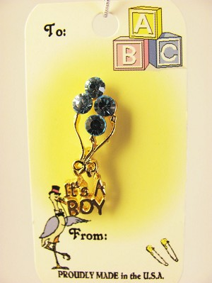 """It?s a Baby Boy"" Blue Balloons Pin, Genuine Austrian Crystals"