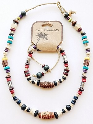 Jamaica Beach Earth Elements Necklace Bracelet, Spiritual Beaded Surfer Men's Jewelry