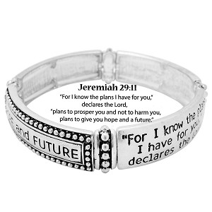 Jeremiah 29:11 Bracelet Hope & Future Inspirational Message, Silver