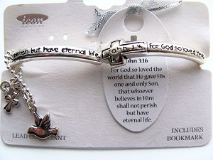 John 3:16 Cross Dove Charm Bracelet Inspirational Stretching Silver Bangle