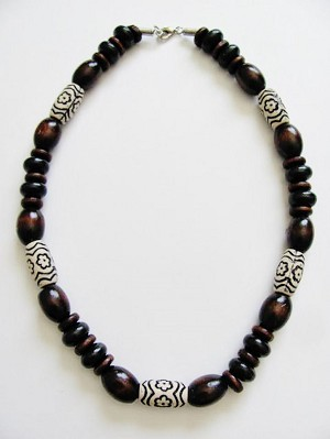 Large Brown Wooden Bead Surfer Beach Necklace, Men's Unisex