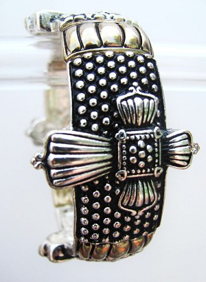 Large Cross Vintage Stretching Bracelet, Two-Tone Designer's Fashion