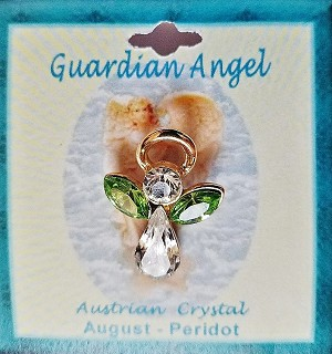 Large Peridot August Birthstone Guardian Angel Pin, Genuine Austrian Crystals