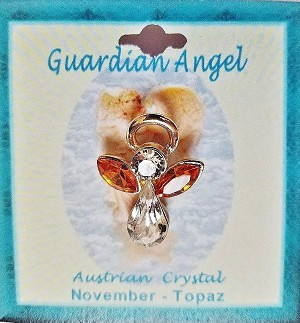 Large Topaz November Birthstone Guardian Angel Pin, Genuine Austrian Crystals