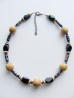 Large Wood & Black Stone Men's Surfer Beach Beaded Necklace, Unisex