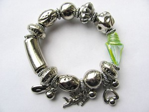 Love Angel Crazy Silver Charms Green Glass Stretching Bracelet