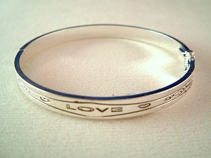 Love Inspirational Bangle Bracelet, Silver Finish Metal, Anti-allergic Jewelry