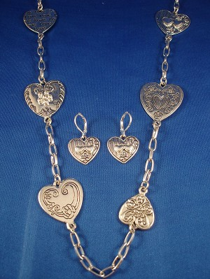 Love Inspired, Silver Hearts Set of Necklace & Earrings, Anti-allergic Jewelry