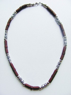 Miami Beach Men's Necklace, Surfer Beaded Two-tone Brown