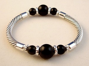 Midnight Black Twisted Rope Cable Stretching Bracelet, Ball Beads, Silver Finish Metal, Anti-allergic