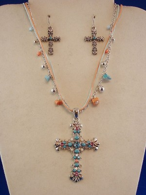 Multi-color Filigree Cross Set of Necklace & Earrings, ZC Zirconia Stones, Genuine Shells