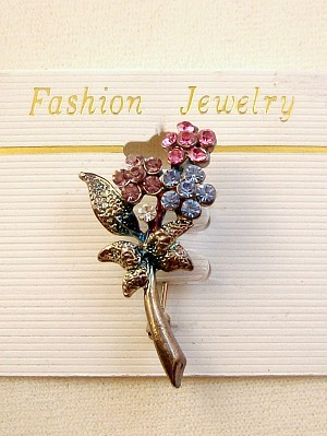 Multicolor Flower Metal Pin, Pink, Purple, Blue & Clear Austrian Crystals