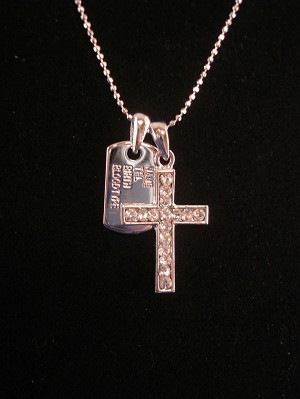 Name Plate & CZ Diamond Cross Pendant, Silver Tone Necklace