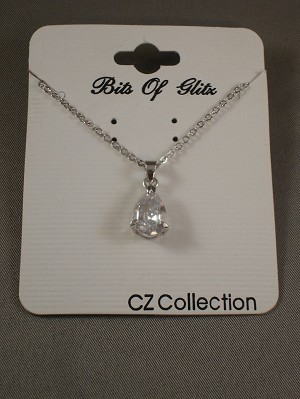 Necklace, Drop Shaped Clear Diamond CZ Cubic Zirconia Pendant, Chain, Sterling Silver Plated Jewelry