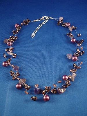 Necklace, Three Layers of Purple Beads, Artificial Pearls & Genuine Stones, Fashion European Jewelry