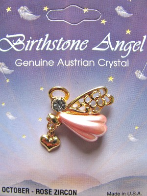 October-Rose Zircon Birthstone Angel Heart Charm Pin, Genuine Austrian Crystal