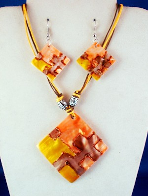 Orange, Brown, Yellow, Crazy Summer Colors, Genuine Shells Rhomb Pendant Set of Necklace & Earrings, Metal Beads, Cotton Cord, European Fashion Jewelry