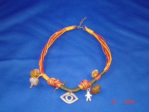Orange Evil Eye Necklace, Natural Stones, European Fashion Jewelry