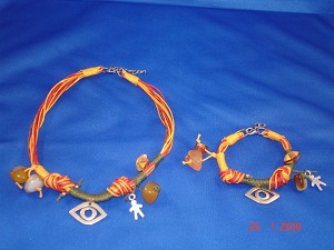 Orange Evil Eye, Set of Necklace & Bracelet, Protects from Evil Spirit, European Fashion Jewelry
