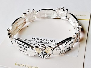 PSALMS 91:11 Inspirational Message Bracelet Stretch, Guardian Angels