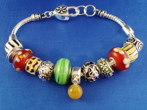 Pandora Inspired  Charm Bracelet, Silver w/ Black Ornament Finish, Colorful Stained Glass Beads, Anti-allergic Jewelry