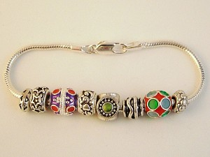 Pandora Inspired Christmas Ornaments Charm Bracelet, Star, Colorful Vintage Metal Beads