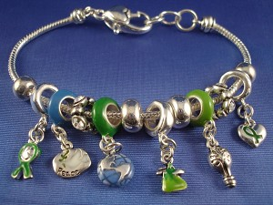 "Pandora Inspired ""Go Green"" Charm Bracelet, Heart, Globe, Peace Bird, Bulb, CZ Stones, Anti-allergic Jewelry"