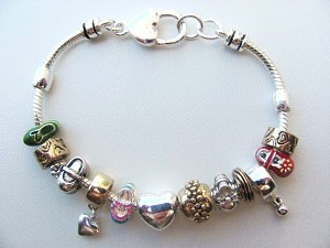 Pandora Inspired Small Girl Fashion Shoes Charm Bead Bracelet, Two-Tone