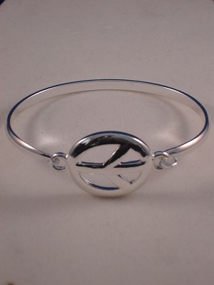 Peace Sign Silver Metal Bracelet, Anti-allergic Jewelry