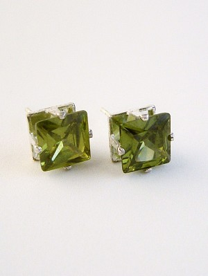 Peridot Princess Cut Silver Stud Earrings Genuine CZ Cubic Zirconia