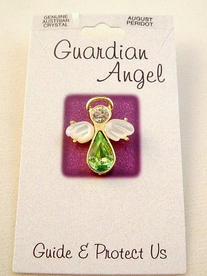 Peridot-August Birthstone Guardian Angel Pin, Genuine Austrian Crystals, Gold Finish Metal
